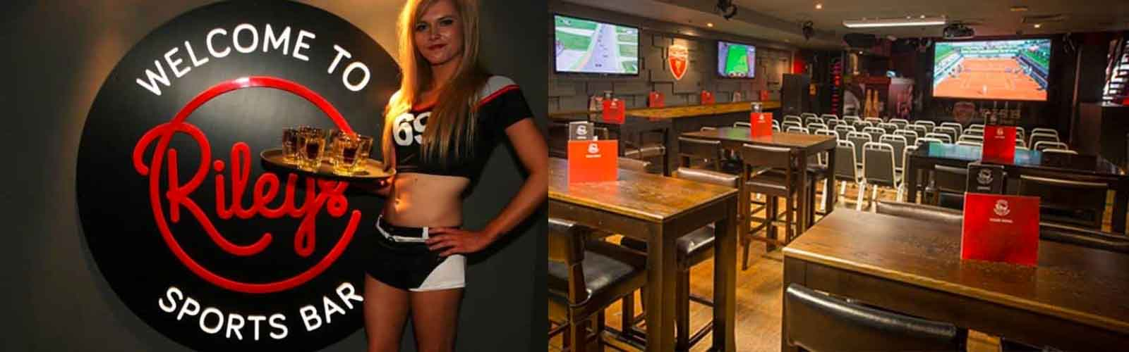 Catch your favorite game at Rileys Sports Bar.