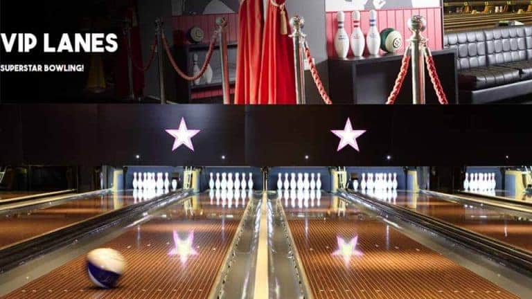 Op deze foto ziet u de bowlingbaan van Surrey Quays Bowling