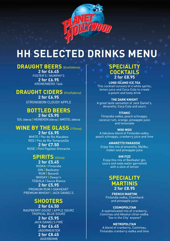 On this flyer all the special drink offers at Planet Hollywood London are shown