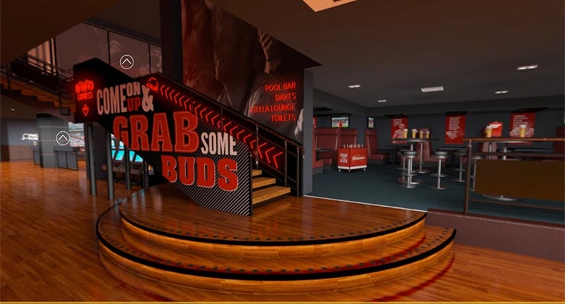In this picture the inside of Rileys sports bar is shown. On the picture you see the stairs to go up.