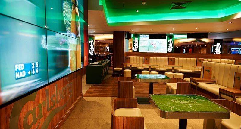 In this picture the inside of Rileys sports bar in London is shown. It is a very smooth and modern sports bar.